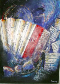 L`accordéoniste - Gouache - 110 x 80